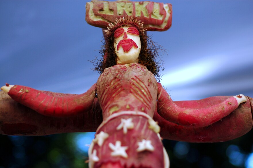 The crucifixion, as carved in radishes