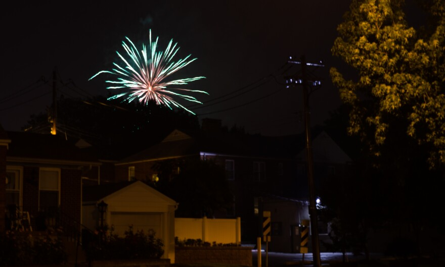 A fireworks display in south St. Louis. July 4, 2015