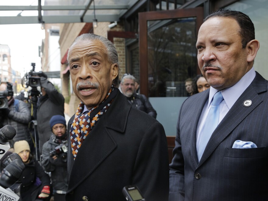 The Rev. Al Sharpton (left) and Marc Morial, president of the National Urban League, speak to reporters after they met with Sony Pictures co-chairman Amy Pascal on Dec. 18.