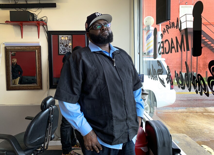 Frederick Cannon owns Unique Images Barber and Beauty Salon in Cuthbert, Ga., where Fair Count has installed a Wi-Fi router and three laptops.