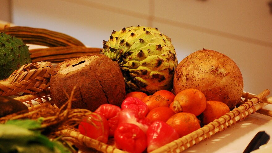 Brazilian fruits, including <em>jambu</em> and <em>tapereba</em> (lower right), displayed for a gathering of chefs in Sao Paolo.
