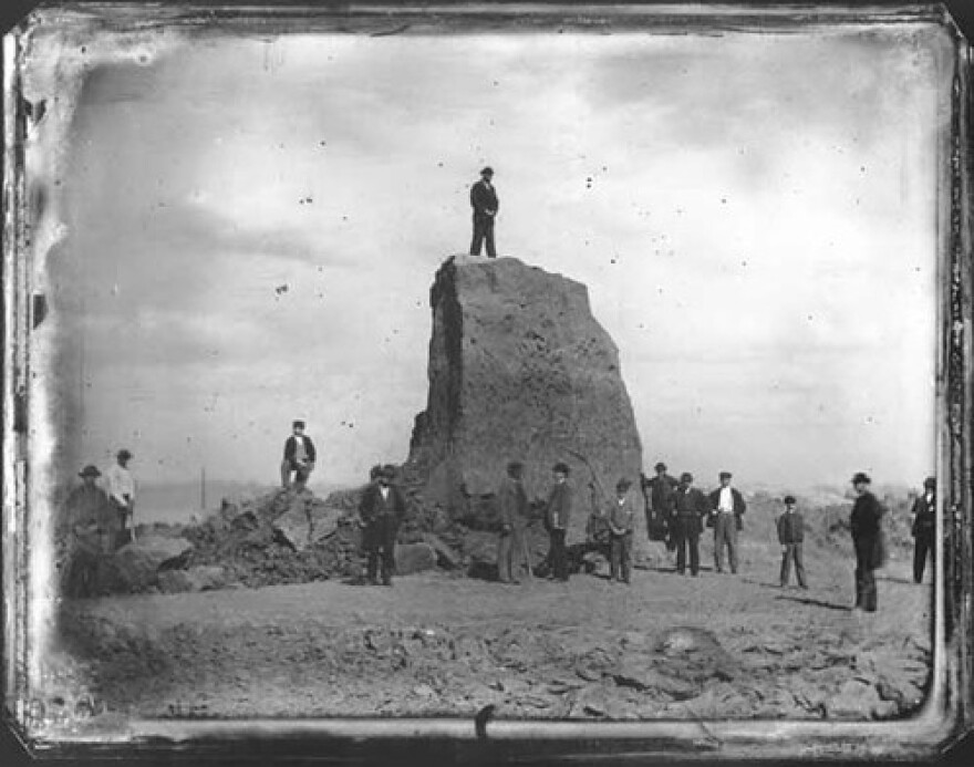 This daguerreotype by Thomas M. Easterly shows the last of one of the final big mounds in St. Louis as it was being destroyed in 1869.