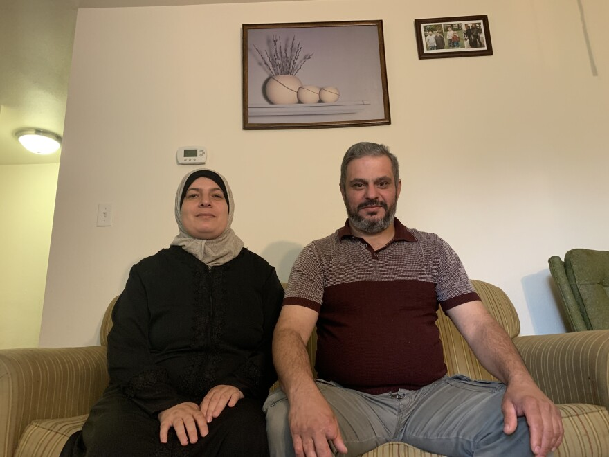 Shatha Abdelber with her husband Mohammed Khalouf in their apartment in Missoula, Mont.