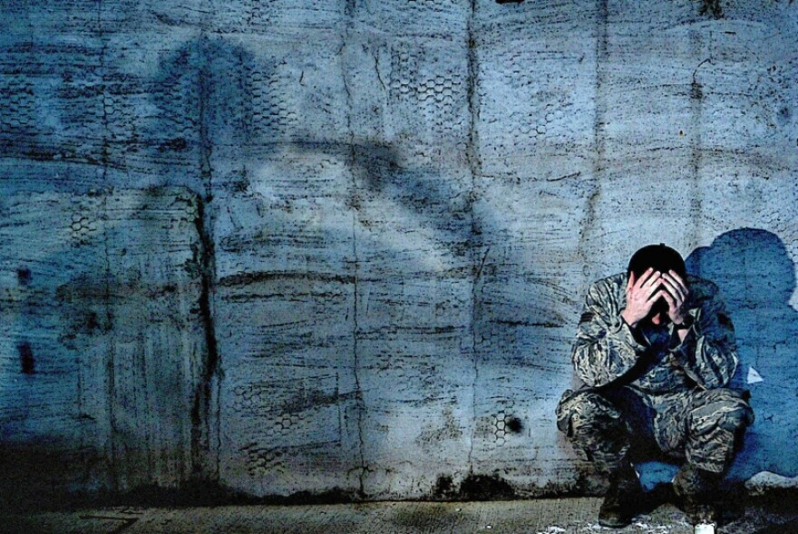 A 2009 public service poster designed to raise awareness about stress-related causes of suicide amongst U.S. servicemembers. The Veterans Crisis line can be reached at 1-800-273-8255.