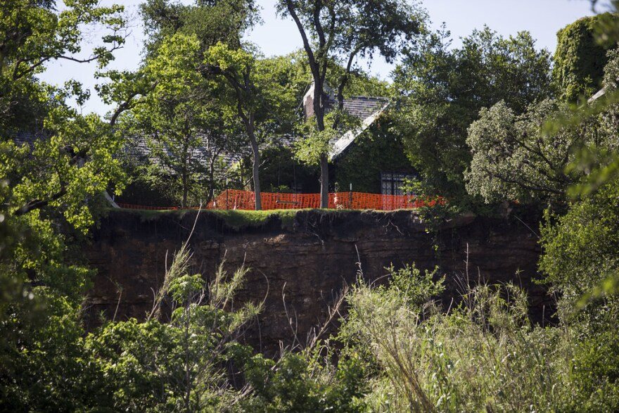Residential property in the Pemberton Heights neighborhood uphill from Shoal Creek was damaged by a landslide in 2018.