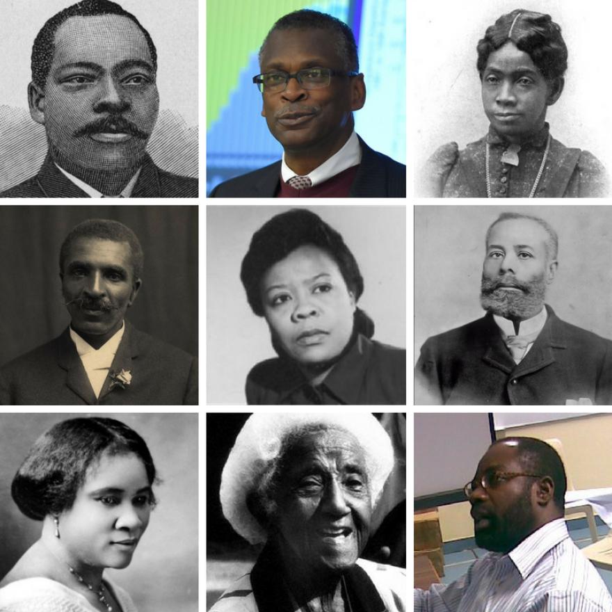 A traveling museum in St. Louis highlights the achievements of black inventors. From left, across: Granville T. Woods, Lonnie Johnson, Sarah Boone, George Washington Carver, Bessie Blount, Elijah McCoy, Madam CJ Walker, Marjorie Joyner, Philip Emeagwali.