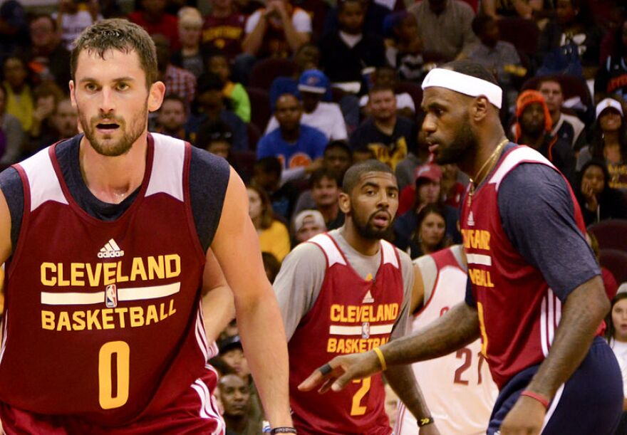 photo of Kevin Love, Kyrie Irving, and LeBron James