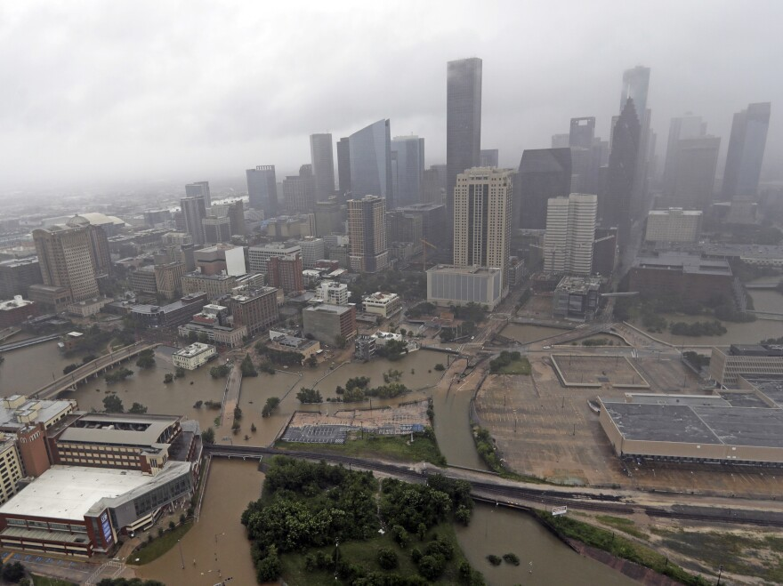 Downtown Houston flooded by rain from Hurricane Harvey on Aug. 29, 2017. The buildings in the region exacerbated rainfall from the storm, according to a new study.