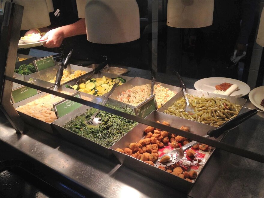 The vegetable line at a Luby's.