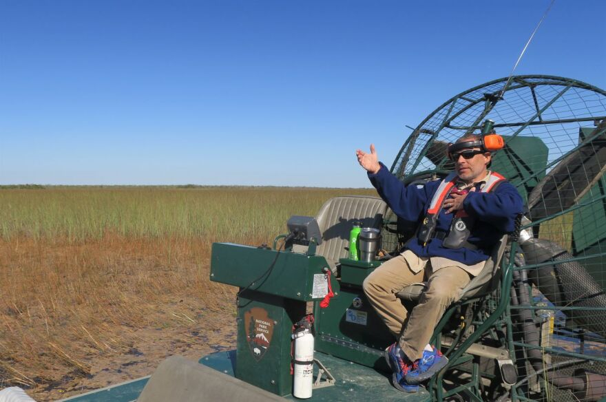 Damon Rondeau on an airboat