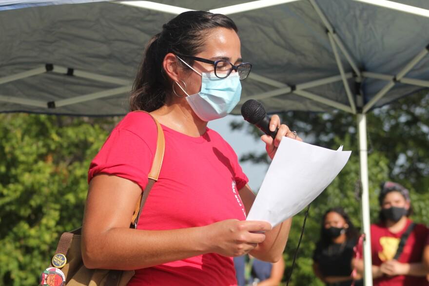 Former Army Sgt. Rachell Tucker speaks at a vigil for Vanessa Guillen.