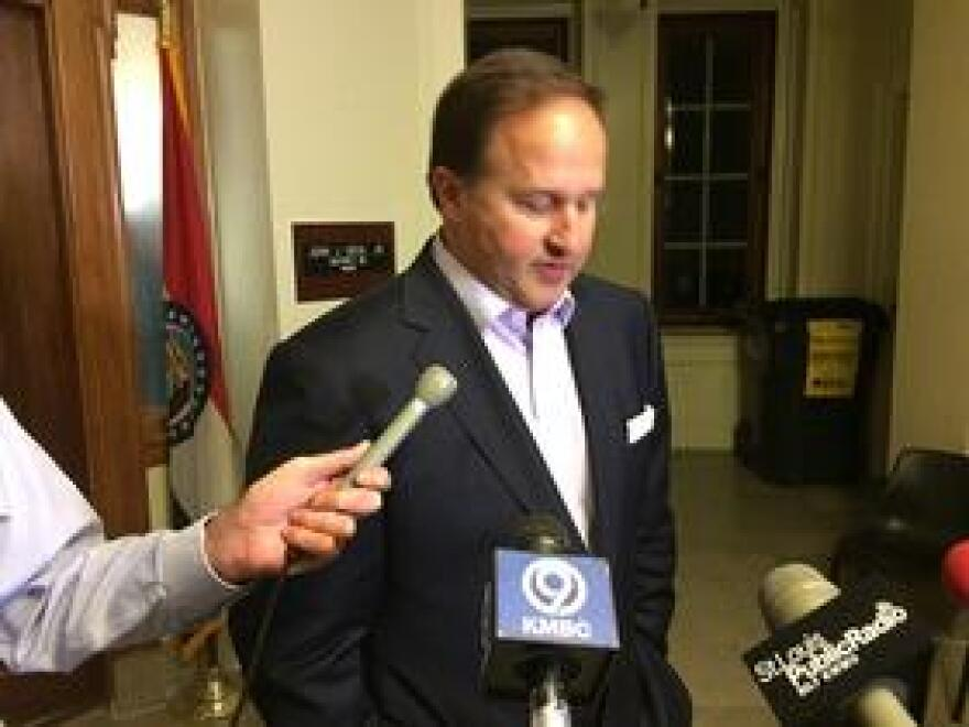 """Diehl briefly speaks with reporters after issuing a statement in which he apologized for """"poor judgment"""" regarding a texting relationship he had with a female intern."""
