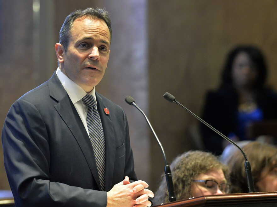 Kentucky Gov. Matt Bevin, a Republican, speaks to state legislators in 2018. Bevin, who is running for re-election this fall, asked the federal government to impose work requirements on many people who receive Medicaid. Bevin's predecessor, a Democrat, did not seek these requirements when he expanded the program under the Affordable Care Act.