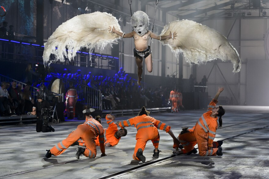 The 35.4-mile Gotthard Base Tunnel is the world's longest railway tunnel. Dancers performed at Wednesday's opening ceremony.