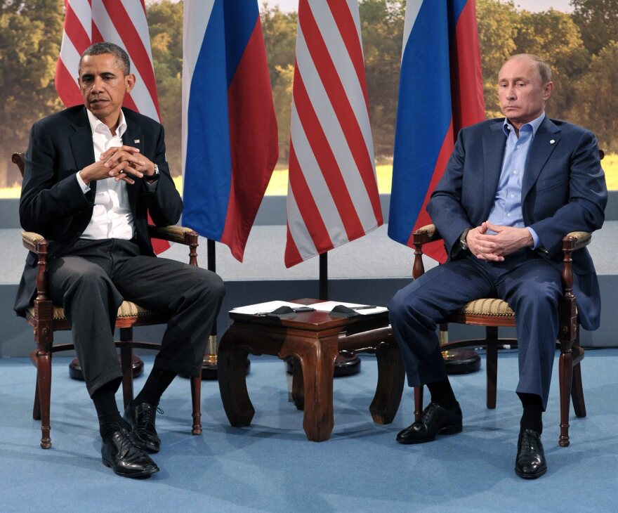 Russian President Vladimir Putin and President Obama when they sat down together in June at a G8 summit in Northern Ireland.