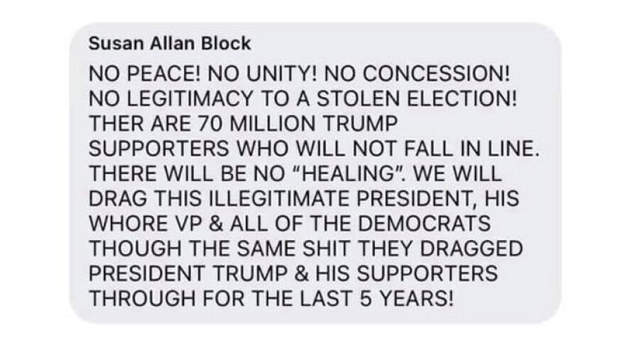 a screenshot of Susan Allan Block's facebook post