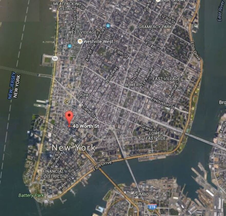 The location of the crane collapse, at 40 Worth St. and West Broadway, Manhattan.