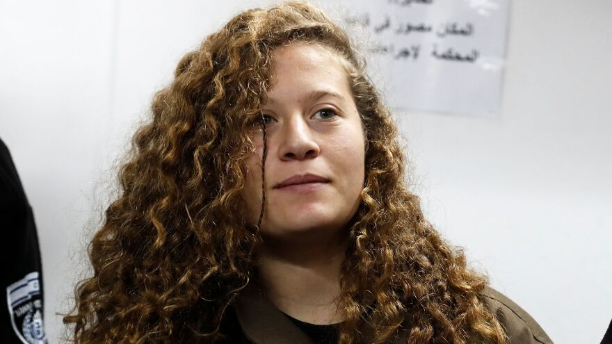 Ahed Tamimi, then 16, stands for a hearing in the military court at Ofer military prison on Jan. 1. She accepted a plea bargain and is to be released in July, her lawyer said.