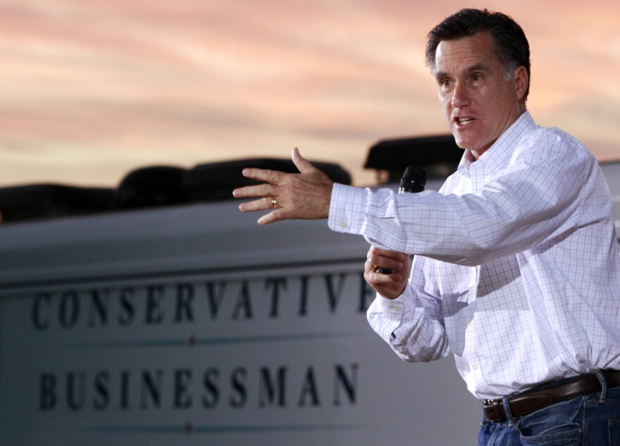 Republican presidential candidate, former Massachusetts Gov. Mitt Romney, campaigns at Allstar Building Materials in Ormond Beach, Fla. on Sunday.