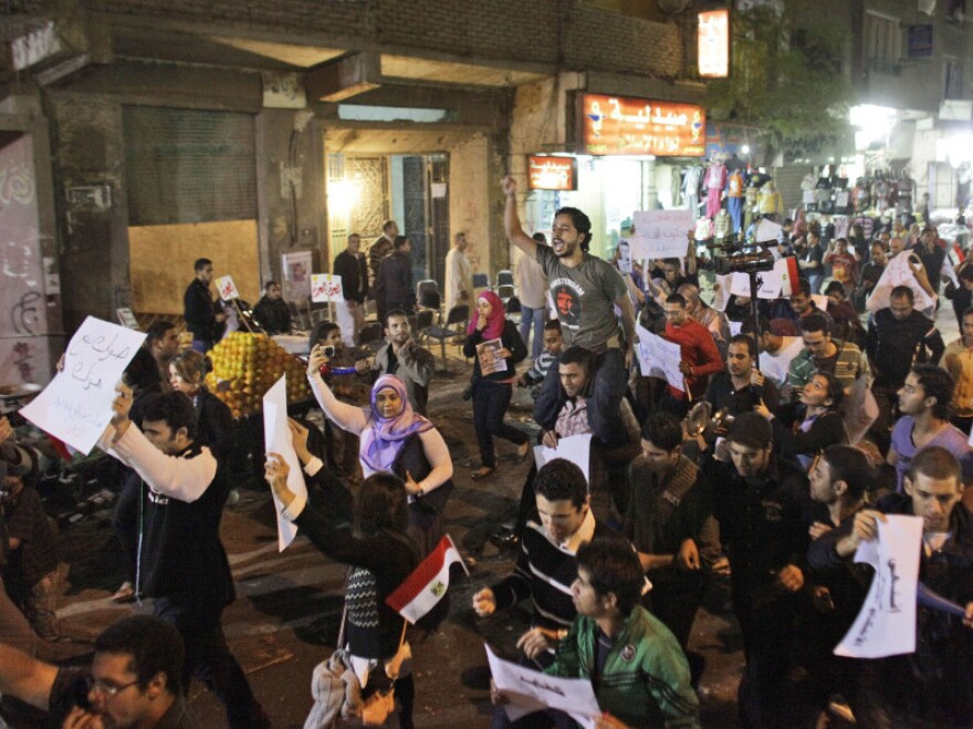 Activists march in the streets of Cairo in November.
