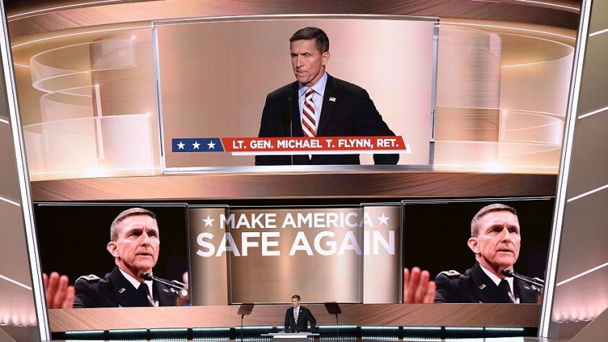 Retired general Michael Flynn addresses the crowd on the first day of the Republican National Convention on July 18, 2016 in Cleveland, Ohio.