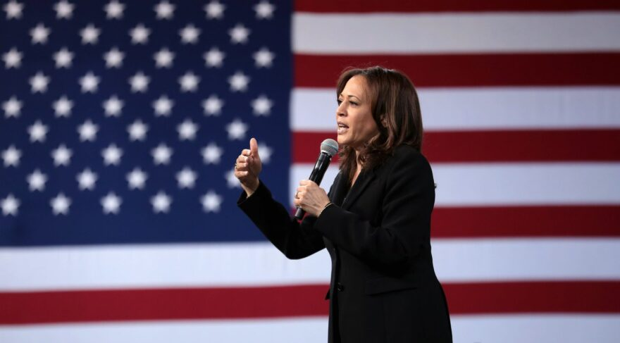 Kamala Harris joined Joe Biden on the Democratic ticket for president. She is pictured here in 2019 at an event in Las Vegas.