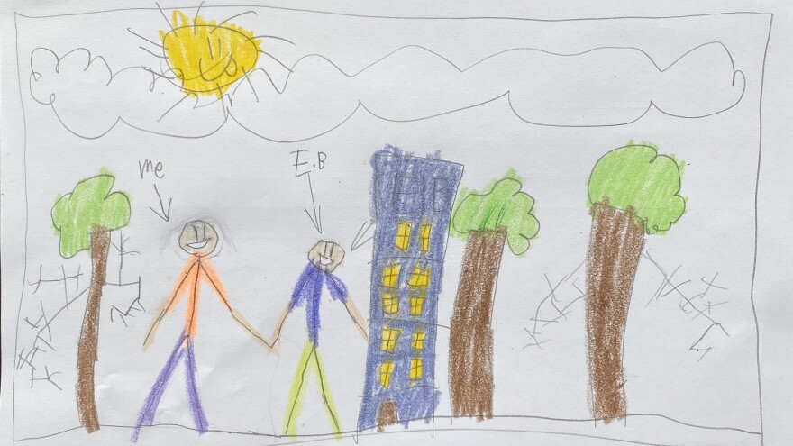 """Milo Greer from Brooklyn, N.Y., drew himself and his friend because he """"misses him so much."""""""