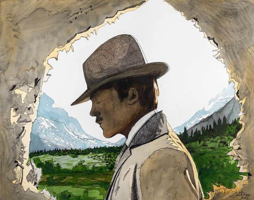 Watercolor and ink of a mustachioed man in a suit jacket and western fedora in front of green field without blue and white mountains in the background.