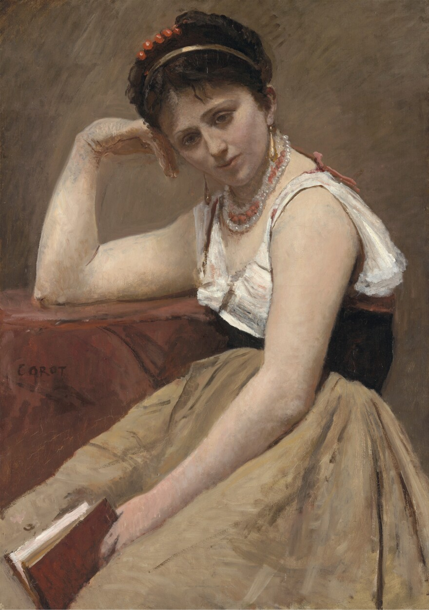 """Corot painted <em>Interrupted Reading </em>around 1870. """"It is not completely refined and finished in a contemporary academic way ..."""" says curator Mary Morton. """"I think it's enough for him."""""""