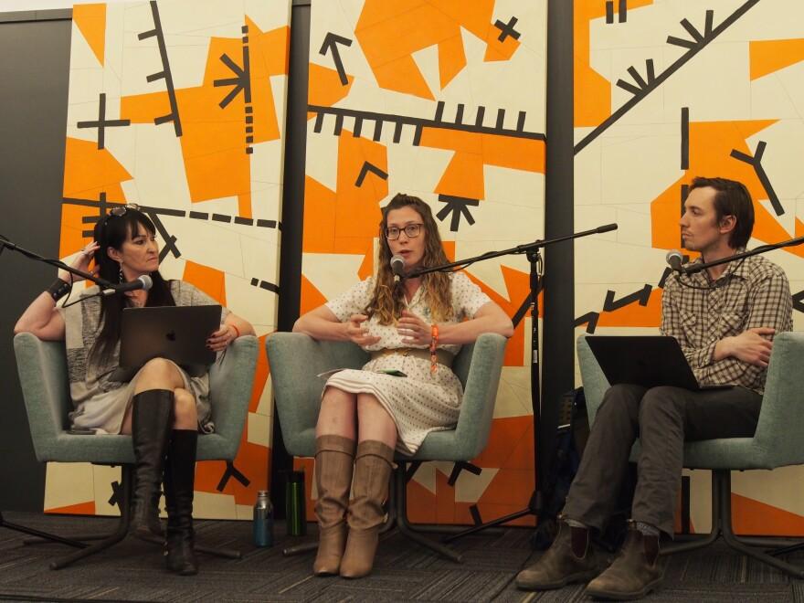 Editor Kate Concannon (left) facilitates a conversation with reporters Amanda Peacher and Nate Hegyi.