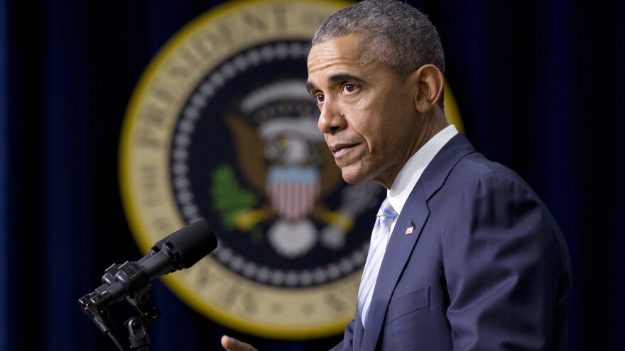 President Obama speaks at the White House Wednesday about the fifth anniversary of his signing of the healthcare law.