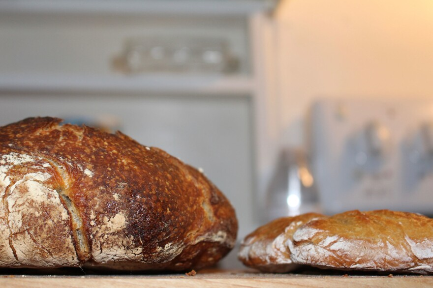 The loaf on the left was made with a starter; the sourdough loaf on the right wasn't. Researchers are soliciting home bakers to submit their starters for DNA analysis. The goal is to assemble a census of sourdough biodiversity and analyze variations in pH levels, enzyme production and other aspects of its biochemistry.