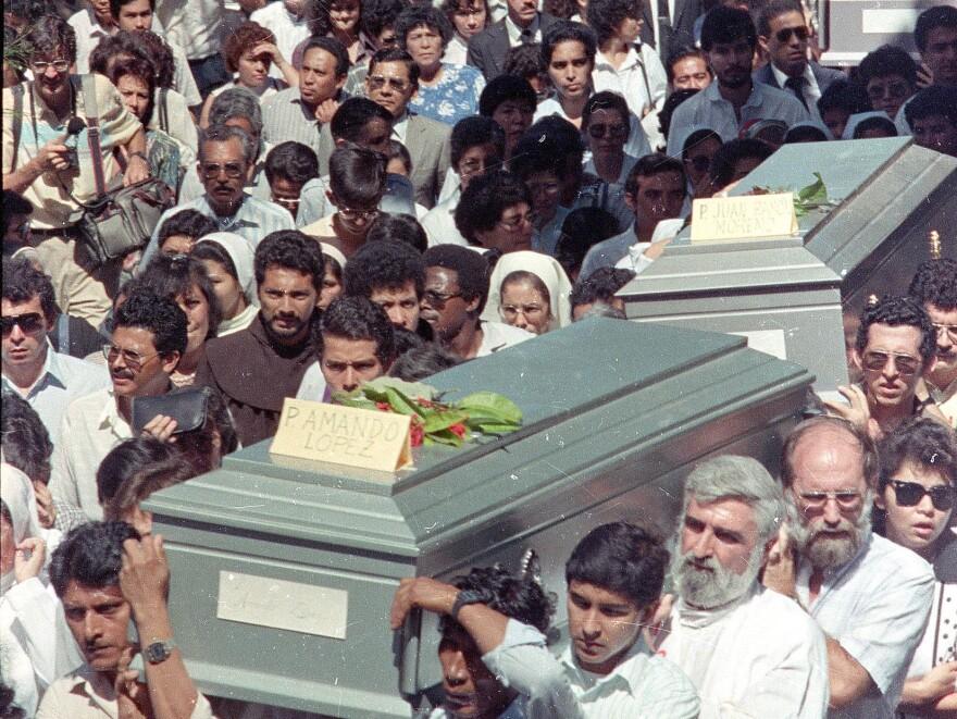 The funeral procession for the six Jesuit priests in San Salvador, El Salvador on Nov. 19, 1989.