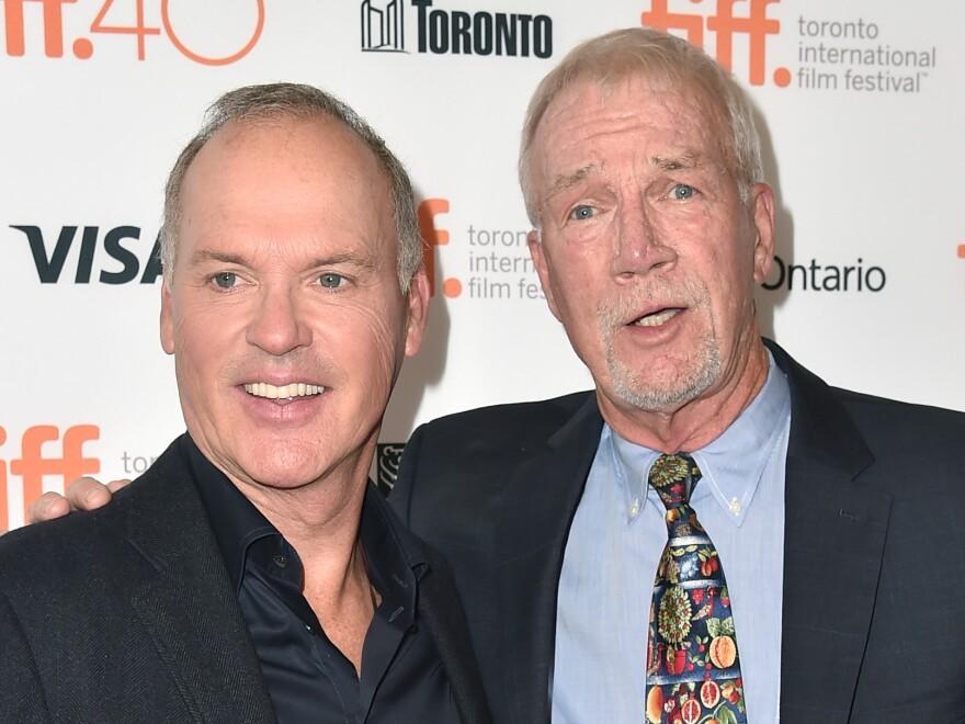 Actor Michael Keaton (left) portrays <em>Globe</em> journalist Walter Robinson (right) in <em>Spotlight.</em>