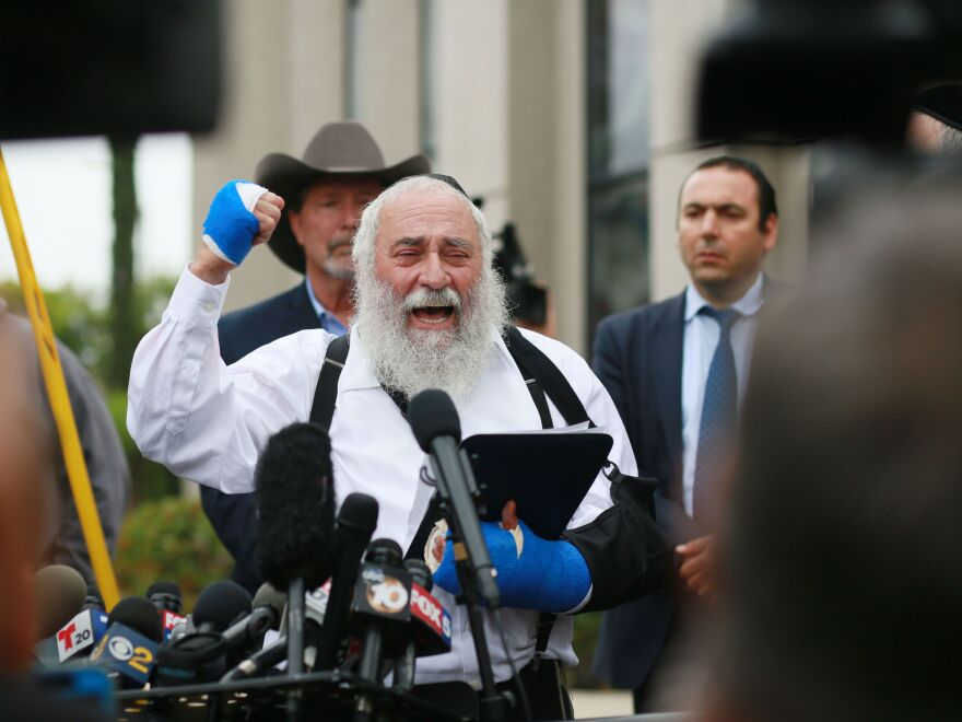A day after his synagogue was attacked, Rabbi Yisroel Goldstein held a press conference outside the Chabad of Poway Synagogue to recount what happened during the deadly attack.
