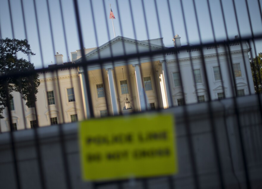A perimeter fence has been placed in front of the White House fence on the North Lawn along Pennsylvania Avenue in Washington.