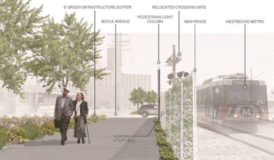 Artist rendering of a new MetroLink station being constructed between Boyle Avene and Sarah Street, the first segment of the proposed Chouteau Greenway.