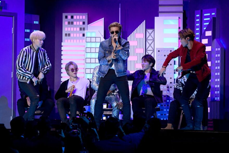 SUGA, Jimin, RM, J-Hope and Jungkook of BTS perform onstage during the 62nd Annual GRAMMY Awards at Staples Center in Los Angeles, California.