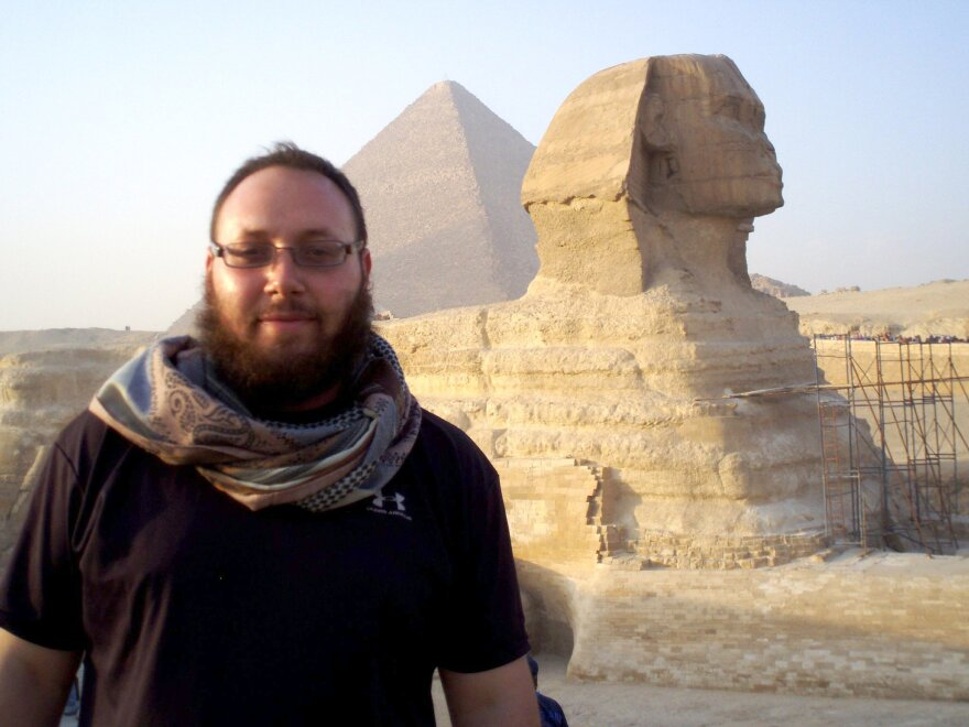 An undated photo of journalist Steven Sotloff at the Great Sphinx in Egypt.