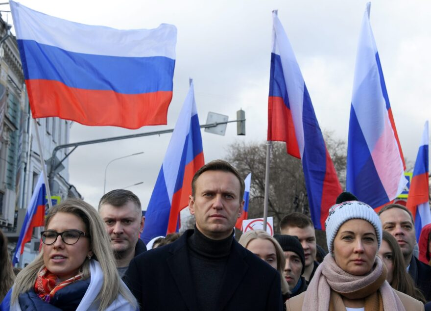Russian opposition leader Alexei Navalny, his wife Yulia, opposition politician Lyubov Sobol and other demonstrators take part in a march in memory of murdered Kremlin critic Boris Nemtsov in downtown Moscow.