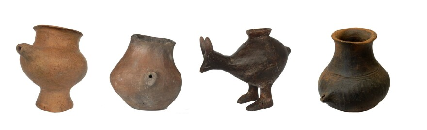 A selection of small feeding vessels dating back to the late Bronze Age and early Iron Age. Researchers now say vessels like these were used as prehistoric baby bottles.