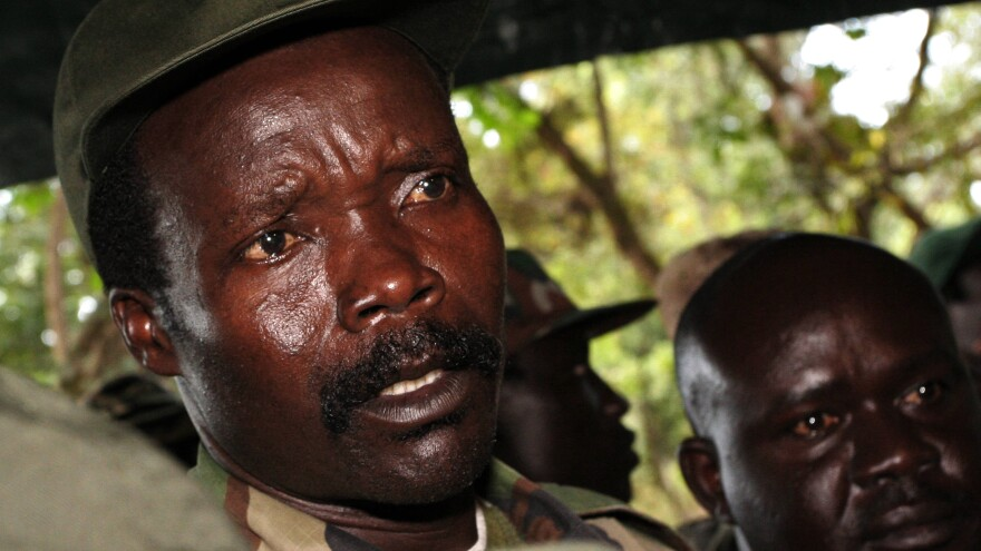 Joseph Kony, leader of the Lord's Resistance Army, answers journalists' questions at Ri-Kwamba, in southern Sudan, in 2006.
