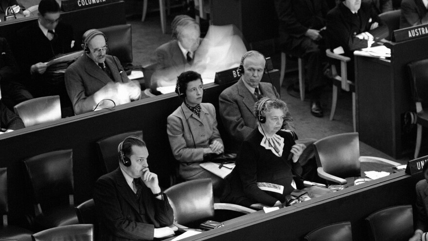 Eleanor Roosevelt, center, at the United Nations General Assembly in Paris in September 1948. The Universal Declaration of Human Rights, adopted in December 1948, was largely the work of Roosevelt, in her role as chair of the U.N. commission responsible for writing it.