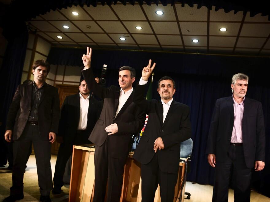 Ahmadinejad (center right) has endorsed top adviser Esfandiar Rahim Mashaei (center left) for president.