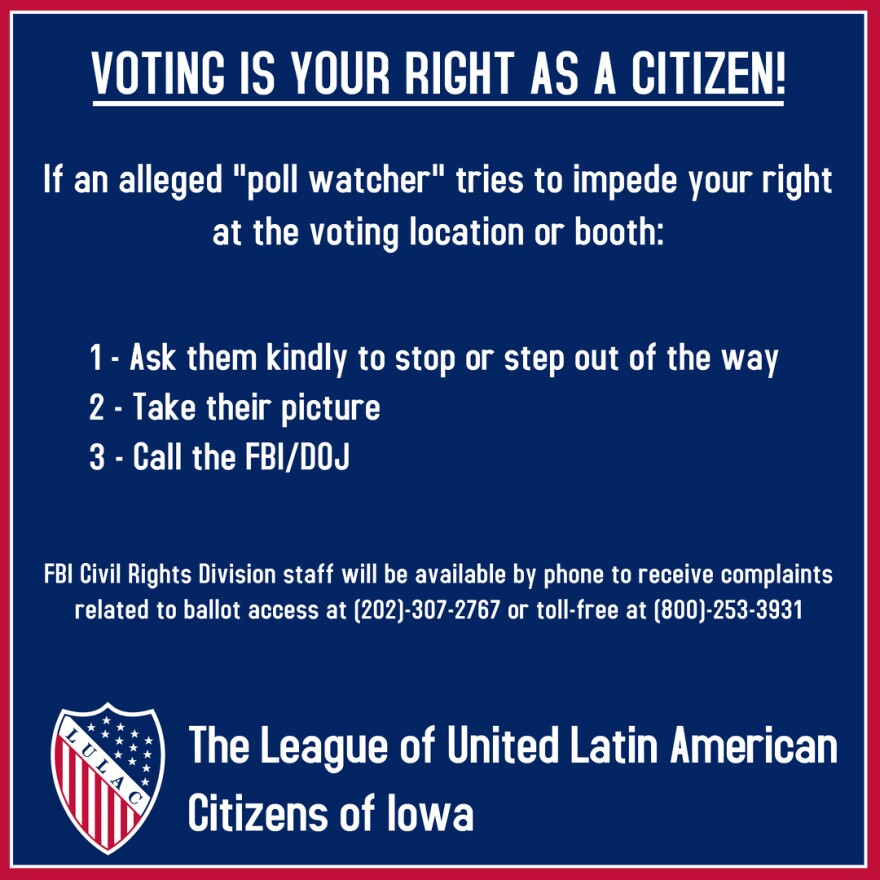 """VOTING IS YOUR RIGHT AS A CITIZEN! If an alleged 'poll watcher' tries to impede your right at the voting location or booth: 1- Ask them kindly to stop or step out of the way 2- Take their picture 3- Call the FBI/DOJ  FBI Civil Rights Division staff will be available by phone to receive complaints related to ballot access at (202)-307-2767 or toll-free at (800)-253-3931"""