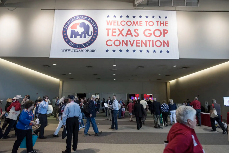 The entrance to the 2016 Republican Party of Texas convention in Dallas. The 2020 in-person party convention in Houston was canceled due to the coronavirus, spurring legal battles.
