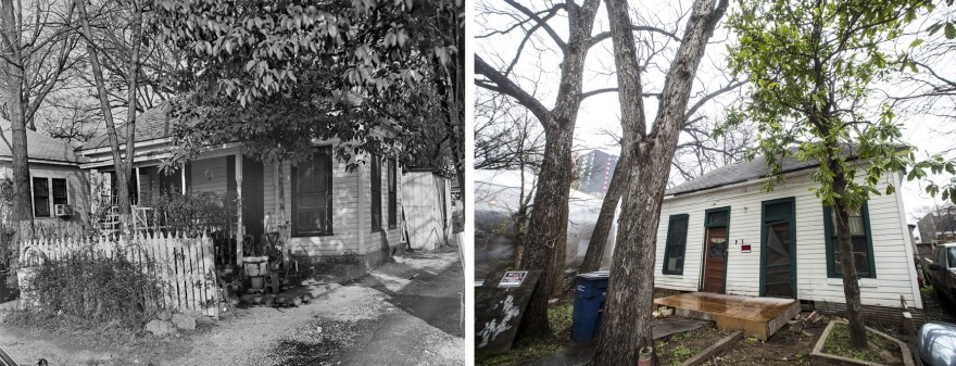 At left, a photograph of 71 Rainey St. from 1980 (Courtesy/Texas Historical Commission). At right, the home as it looks today. (Gabriel C. Pérez/KUT)