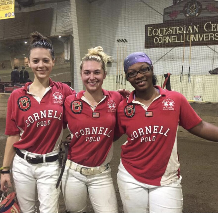 Shariah Harris (right) is one of the captains of the Cornell University polo team.