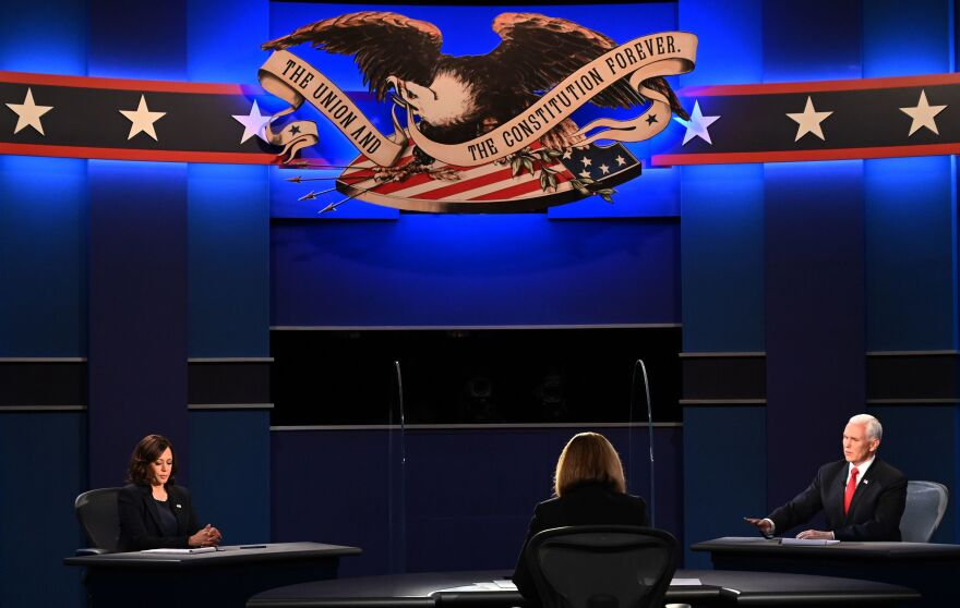 Vice President Mike Pence speaks during the vice presidential debate with Democratic vice presidential nominee Sen. Kamala Harris, D-Calif., at the University of Utah in Salt Lake City on Wednesday.