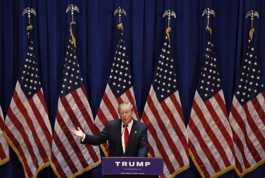 Businessman Donald Trump announces that he is running for president during an event in New York City on Tuesday.